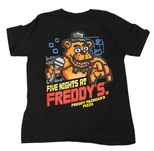 Boys Youth Five Nights At Freddy's Black Pixel Graphic T Shirt Short Sleeve