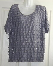 Womens size 1X (16-18) grey layered top made by FASHION BUG - sparkle detail