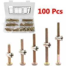 100Pc/50Sets Bolts Nuts Kit M6 Hex Socket Head Cap Screws Nuts For Crib Bunk Bed