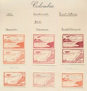 COLOMBIA STAMPS 1920 CCNA 10c RED, 1st SETTING, INC SE-TENANT PAIRS IN 3 SHADES