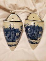 Victorian Wall Pockets Porcelain Blue White Historic Colonial VTG Set Of 2 Decor