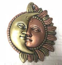 Antique 6'' Metal Sun Moon Ornament Sun Mask wall hanging Garden Celestial