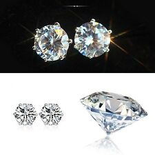 1pair Women Cut Crystal CZ Rhinestone Silver Ear Stud Elegant Earrings Jewelry