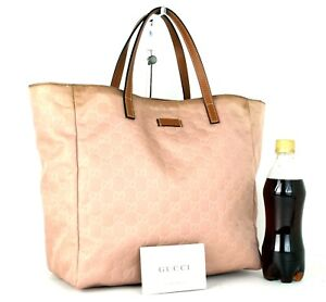 Authentic GUCCI GG Pattern Peach Nylon Canvas Brown Leather Tote Hand Bag Italy