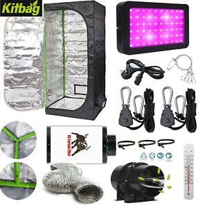 Complete Grow Tent Kit 600w 1000w LED Grow Light Hydroponics Filter Kit SIZES
