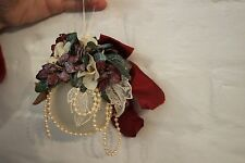 HANDMADE VICTORIAN Christmas Ornaments W/ Tassel, Dried Floral, Painting VINTAGE
