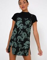 MOTEL ROCKS Datista Slip Dress in Dragon Black/Mint  Small S    (MR88)
