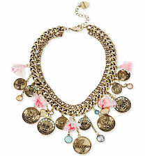 BETSEY JOHNSON 'Cameo Critters' Cat Dog Coin Tassel Statement Necklace NWT $125
