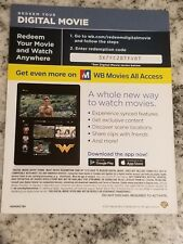 Wonder Woman HD Digital movie ONLY Gal Gadot Chris Pine