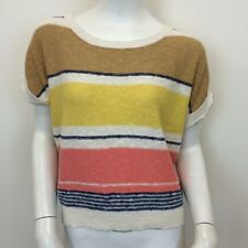 New Look Ladies Multi Coloured Striped Short Sleeve Slouch Jumper Top UK Size 10