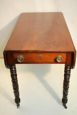 Great Federal Solid Crutch Mahogany Drop Leaf Side End Table on Casters, 19th c.