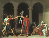 Oil painting Jacques-Louis_David  [1748-1825]  France The Oath of the Horatii