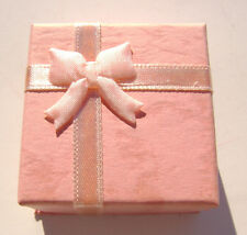 1579PK Gift Box Ring, Studs, Paper, Pink Peach with Ribbon & Bow