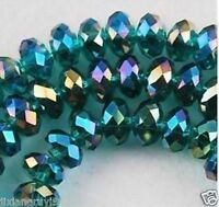 100pcs Dark green Swarovski Crystal Loose Beads 4x6mm +ab