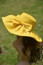 Yellow Linen Summer Womens Wide Brim Sun Hat Wedding Church Sea Beach