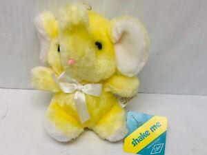 "Eden Plush Elephant Yellow Stuffed Animal ""Shake Me"" Shaker Rattle Toy Vintage"