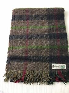 Galaglen Wool Blend Vintage Scarf Checked Plaid Classic Style Warm Country W646