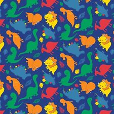 Fabric Dinosaurs Primary on Blue Flannel by the 1/4 yard BIN