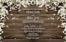 Wedding Invitations Wood & White Flowers Rustic 50 Invitations & RSVP Cards
