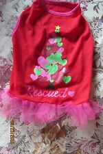 """NEW ADORABLE PETSMART RED WITH HEART TREE """"RESCUED"""" DOGGIE DRESS SZ MED CUTE"""