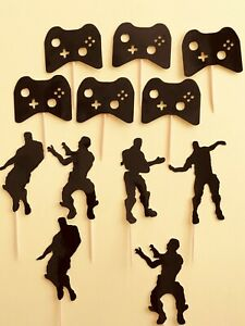 6 Games Controls & 6 Dance Cake Toppers Party Decorations,   Black, Pink, Blue