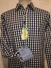 Robert Graham Green Brair Black Blue Plaid Button Down Long Sleeve Shirt M $198