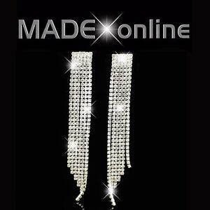 Long Dangle Drop Earrings Diamante Diamonte Sparkle Bling