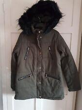 Womens Khaki Winter Parka Jacket Thick Faux Fur Long Sleeves Warm Casual Sz 12