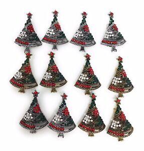 12pcs Christmas Brooch Pin Vintage Rhinestone for Christmas.