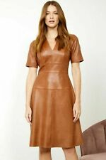 Women's Party Brown Casual Decent Stylish HOT Lambskin Leather Designer Dress