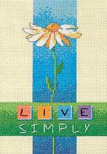 Cross Stitch Mini Kit ~ Dimensions Live Simply Daisy Flower #6975