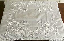 Antique Art Nouveau whitework lace table center