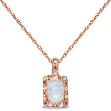 Women's Diamond Created Opal Necklace Pendant in SOLID 10k Rose Gold for Women