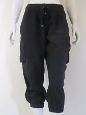 LONDON JEAN Black Capri cropped Cotton harem Casual Solid Pants Sz S