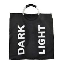 Noir Pliable blanchisserie laver le linge Panier à bin Trieur sac avec poignées