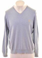 POLO RALPH LAUREN Mens V-Neck Jumper Sweater XL Blue Cotton  FR10