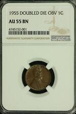 Lincoln Wheat Cent Error. 1955 DDO. NGC AU 55. FS-01-1955-101 Lot # 80-191-055