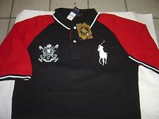 "BIG MENS RALPH LAUREN ""BLACK WATCH POLO TEAM"" BLACK/RED S/S POLO SHIRT SIZE 2X"