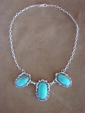 Native American Jewelry Sterling Silver Handmade Turquoise Necklace - Delgarito