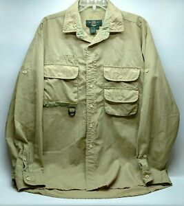 Vintage Orvis Mens Vented Fishing Shirt Size Large Beige Long Sleeve