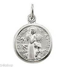 14K Solid White GOLD Tiny St. Saint Francis of Assisi  Animal Lovers Adorable