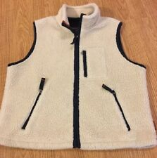 Vintage Abercrombie & Fitch Cream Sherpa Fleece Vest Size Small Mens Womens