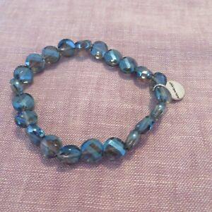 Alex and Ani, Deep Sapphire Luminous Stretch Bracelet, Shiny Silver