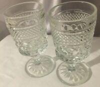 """Vintage Pressed Glass 5 1/2""""  Pedestal Base  Cordial Stemware Set of 2"""