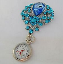 Beautiful Blue Brooch Fob Watch with Diamante Beads