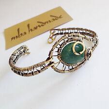 Women'S Natural Jade Crystal Brass Wire Wrapped Vintage Design Cuff Bracelet