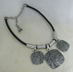 Alice Seely Pewter Petroglyph Necklace Tribal Pendants Leather Cord Artisan