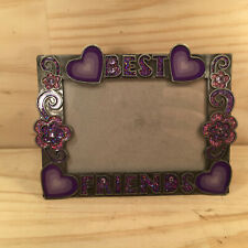 "BEST FRIENDS ""Purple & Silver"" Beautiful Metal Photo Frame Decorative Ornament"