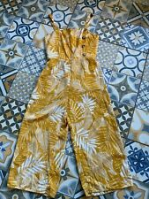 Ladies Yellow White Vintage Fabric Pattern Cullottes Jumpsuit Dress Formal Work