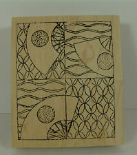 """Rubber Stamp Japanese Fan Asian Design Rubber Marbles 4"""" x 3"""" Never used"""